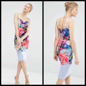 💕Ted Baker💕 Floral Bouquet Bodycon Midi Dress